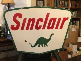 Large Sinclair Double Sided Porcelain Sign