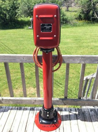 OLD ECO AIR METER TIREFLATOR WITH POST AND HEAVY STABLE BASE RED INDIAN COLORS 3