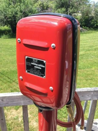 OLD ECO AIR METER TIREFLATOR WITH POST AND HEAVY STABLE BASE RED INDIAN COLORS 4