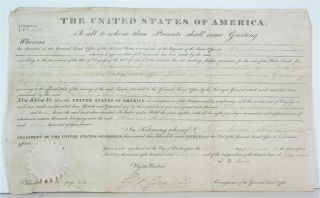 1827 President John Quincy Adams Signed Document - Indiana Territory Land Grant