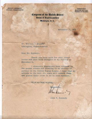 Authentic John F Kennedy Signed Letter 1952