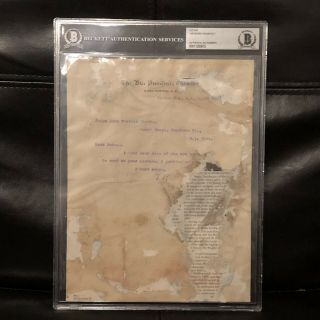 Authentic Theodore Teddy Roosevelt Signed Autographed Vp Document - Bas Beckett