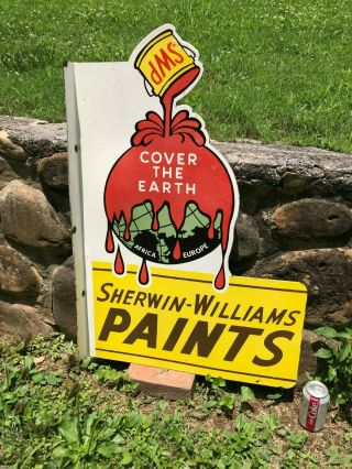 """ Sherwin Williams Paints "" Large Heavy Double Sided Porcelain Dealer Flange Sign"
