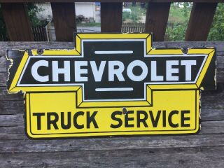 Old Chevrolet Truck Service Double Sided Porcelain Sign