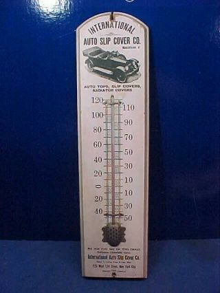 1920s Auto Slip Cover Co Wood Advertising Thermometer W Early Car Image