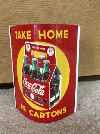 Old Coca - Cola 2 Sided Tin Advertising General Store Hanging String Holder Carton