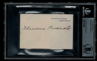 Theodore Roosevelt D1919 Signed White House Card Auto Potus President Teddy