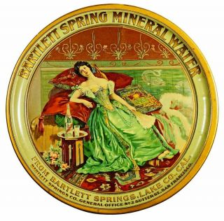 C1905 Bartlett Spring Mineral Water Tin Lithograph Advertising Serving Beer Tray