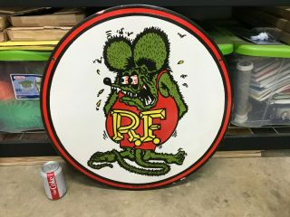 "Old "" Rat Fink "" Large,  Heavy Double Sided Porcelain Sign,  (dated 1961) 24 "" Inch"