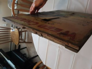 1920 ' s Weed Tire Chains Tin and Wood Frame Sign with old gas pricing 6