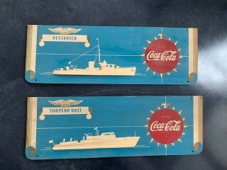 Coca - Cola Ww Two Wood Advertising Signs