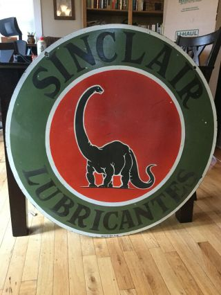 "1949 Sinclair Large 36"" Double Sided Porcelain Sign"