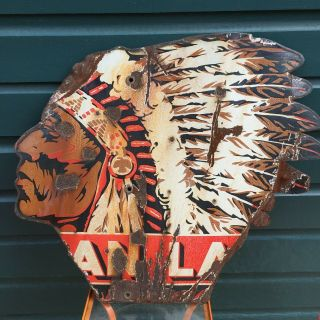 "Indian Head Advertising Sign 22 X 26 "" Porcelain,"