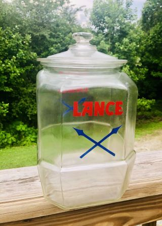 "Vintage Large 10 1/2 "" Glass Lance Jar Store Display Jar With Lid Cracker Jar Old"