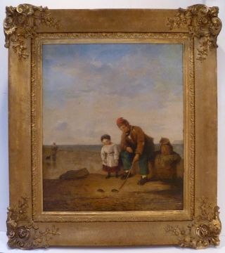 By William Shayer - Crab Fishing - Southampton Large Oil Painting - Listed