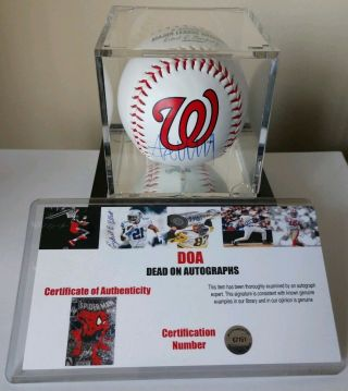 President Donald Trump Signed Baseball In Case Autographed With