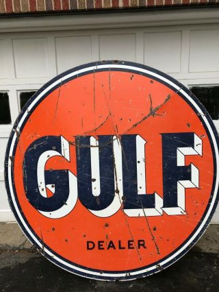 1954 Porcelain Gas Oil Sign Gulf Not Texaco Sunoco Sinclair Shell Ships