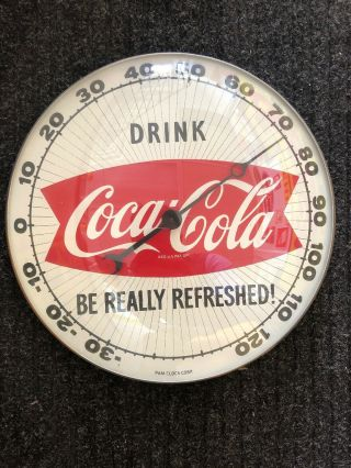 "1959 12 "" Coca Cola Pam Clock Co Fishtail Thermometer Very"