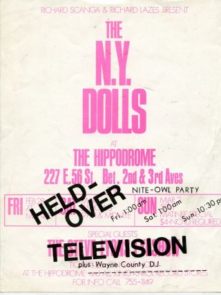York Dolls Poster 1975 Hippodrome Red Patent Leather W/ Television