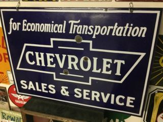 'chevrolet Sales And Service' Porcelain 2 Sided Dealership Sign