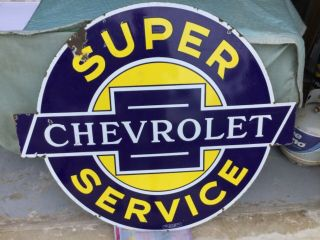 'chevrolet Service' Porcelain 2 Sided Dealership Sign