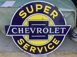 'Chevrolet Service' Porcelain 2 sided Dealership Sign 2