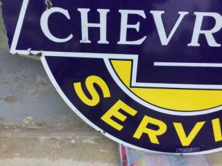'Chevrolet Service' Porcelain 2 sided Dealership Sign 8