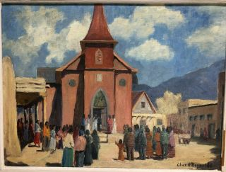 Charles H Reynolds Taos Nm Signed Oil On Board Guadalupe Wedding 1954 Southwest