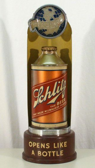 Schlitz Lighted Back Bar Cone Top Beer Can Advertising Sign Milwaukee,  Wisconsin