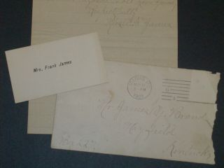 Outlaw Frank James Letter By His Wife - Jesse James - Quantrill