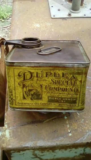 Sign Gas Oil Advertising Cans Duplex Pierce Arrow Grease 1920