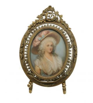 Continental Hand Painted Miniature Portrait Of A Beauty,  Artist Signed,  C.  1900.