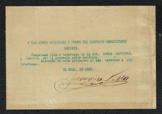Mexico: Autograph Of Pancho Villa Handsigned Document (war Safe - Conduct)