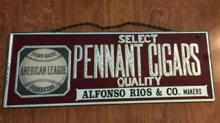 Reverse Glass American League Baseball Pennant Cigars Sign