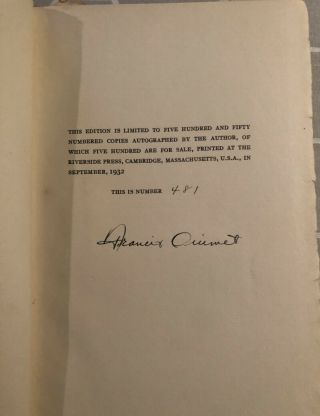 Francis Ouimet Signed Book A Game Of Golf 1st Edition