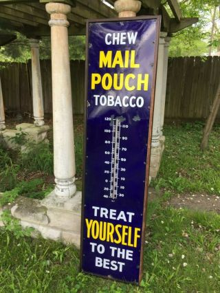 Large Mail Pouch Tobacco Porcelain 72 In.  Thermometer