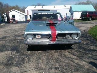 1967 plymouth barracuda car.  Set up for drag racing.  5 point harness,  roll cage. 3