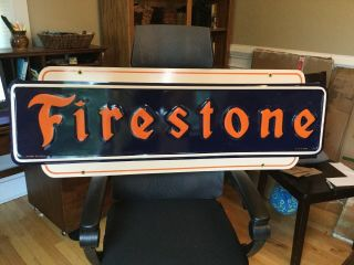 Old Firestone Tire Embossed Metal Sign Near