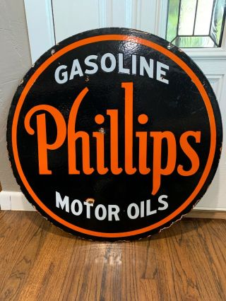 "30"" Phillips Gasoline Ds Porcelain Sign."