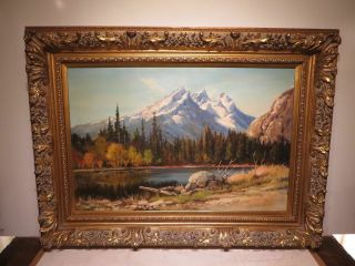 "24x36 1950s Oil Painting On Canvas By Robert Wood "" Mountain Lake """