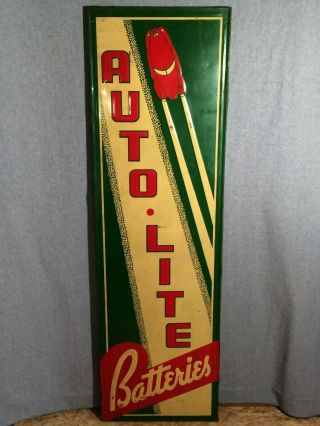 "Autolite Batteries Embossed Painted Tin Sign 60 "" X18 "" Fogarty Dayton Ohio 2591"