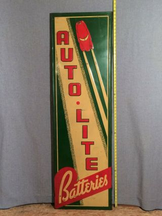 Autolite Batteries Embossed Painted Tin Sign 60