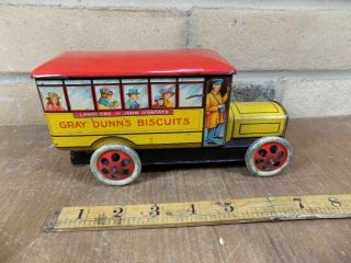 Gray Dunn Midland Bus Figural Advertising Toy Tin C1920s