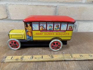 Gray Dunn Midland Bus Figural Advertising Toy Tin c1920s 2