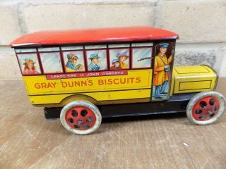 Gray Dunn Midland Bus Figural Advertising Toy Tin c1920s 7