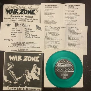 """Warzone Lesc 7"""" Green /200 Youth Of Today Gorilla Biscuits Burn Madball Nyhc Lp"""