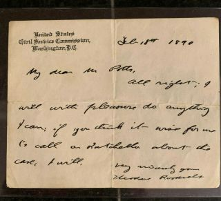 Theodore Roosevelt 1890 Autograph Note Signed Uncommon Handwritten Note
