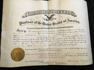 1907 Theodore Roosevelt Signed Postmaster Appointment: Cosigned George Cortelyou