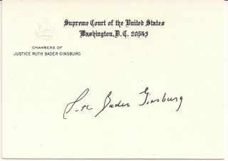 Ruth Bader Ginsburg Authentic Autographed Supreme Court Justice Chambers Card