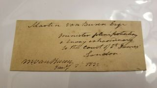 Martin Van Buren Signed Autographed Full Title As U.  S.  Minister To Britain